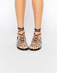 Кожаные сандалии с завязками на голени ASOS FRANTIC - Snake 381fbbcd67f39