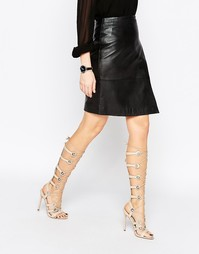 Босоножки на каблуке и шнуровке ASOS HEADQUARTER - Телесный