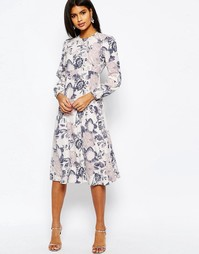 Платье-футляр миди с обойным принтом ASOS - Серый