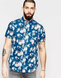 Рубашка с короткими рукавами и цветочным принтом Brave Soul - Синий