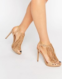 Кожаные сандалии на каблуке с бахромой Kendall & Kylie Aries Nappa