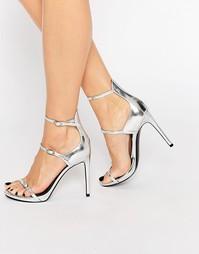 Серебристые босоножки на каблуке Kendall & Kylie Audra