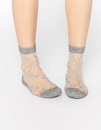 Полупрозрачные носки в горошек с блестками ASOS - Серебряный