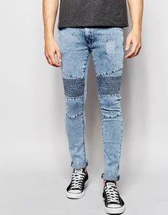 Байкерские джинсы с эффектом кислотной стирки Loyalty & Faith - Синий