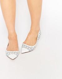 Белые туфли на плоской подошве с цветочной отделкой Dune Hunnee