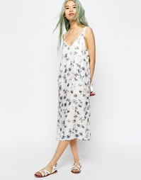 Платье-сорочка миди с цветочным принтом ASOS - Мульти