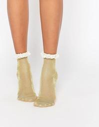 Блестящие носки с кружевной отделкой ASOS - Золотой