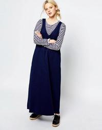 Джинсовое платье без рукавов с V‑образным вырезом Monki - Синий