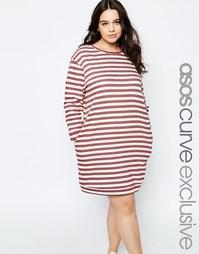 Полосатое платье-свитшот с ассиметричным подолом ASOS CURVE - Мульти