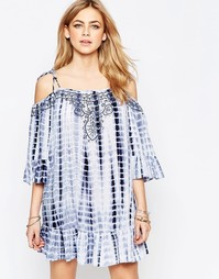 Платье в стиле тай-дай с открытыми плечами Hazel - Синий