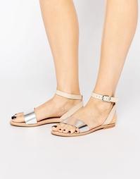 Кожаные сандалии металлик с ремешками Vero Moda - Металлик