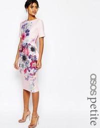 Фактурное платье-футляр с цветочным принтом ASOS PETITE - Мульти
