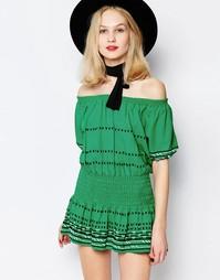 Зеленое платье мини с открытыми плечами Piper Butuan - Kelly green