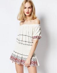 Платье мини цвета экрю с открытыми плечами Piper Butuan - Белый