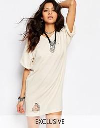 Винтажное удлиненное платье-рубашка с потертостями Milk It - Кремовый