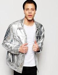 Куртка в стиле вестерн цвета серебристый металлик Weekday - Серебряный