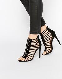Сандалии на каблуке в гладиаторском стиле Boohoo - Черный замшевый