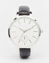 Часы с большим циферблатом на кожаном ремешке ASOS Premium - Черный