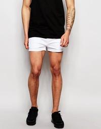 Белые укороченные узкие джинсовые шорты стретч ASOS - Белый