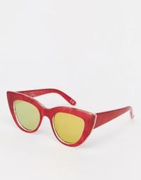 Солнцезащитные очки кошачий глаз с плоским верхом ASOS - Красный