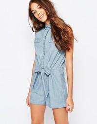 Платье-рубашка из шамбре с защипами Jack Wills - Синий