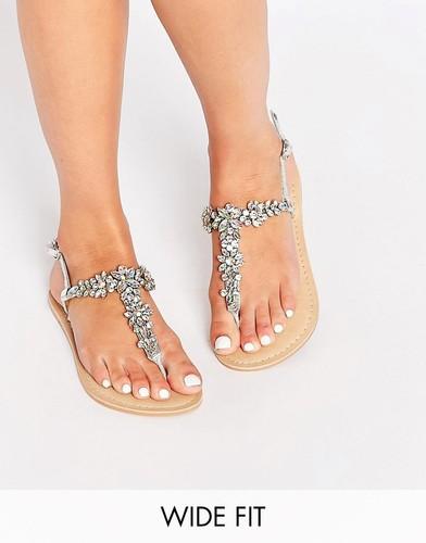 Кожаные сандалии для широкой стопы ASOS FIJI - Iridescent