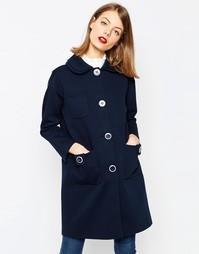 Свободное пальто с двойным воротником ASOS - Темно-синий