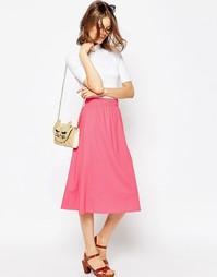 Пышная льняная юбка миди ASOS - Конфетно-розовый