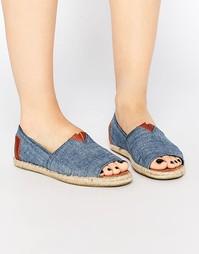 Туфли с верхом из шамбре, плоской подошвой и открытым носком TOMS Alpa