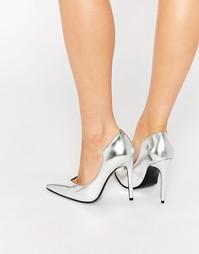 Серебристые кожаные туфли-лодочки с острым носком Kendall & Kylie Abi