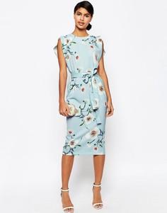 Платье миди в цветочек с ремнем и короткими рукавами с разрезом ASOS