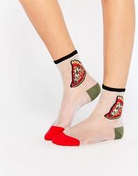 Полупрозрачные носки с пиццей Monki - Мульти