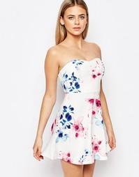 Платье-бандо для выпускного с цветочным принтом Ariana Grande for Lips Lipsy