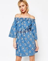 Джинсовое платье с вышивкой House of Holland - Синий разноцветный