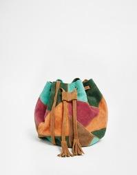 Замшевая сумка в стиле пэтчворк Park Lane - Коричневый мульти