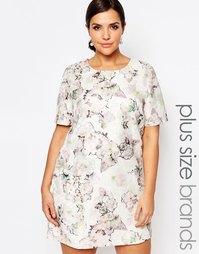 Цельнокройное жаккардовое платье с короткими рукавами и цветочным прин Truly You