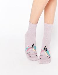 Блестящие носки с единорогами ASOS - Розовый
