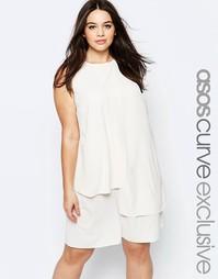 Мягкое цельнокройное платье ASOS CURVE - Кремовый