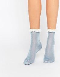 Блестящие носки с кружевной отделкой ASOS - Синий