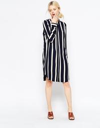 Oversize-рубашка в полоску Selected Nanina - Темно-синий