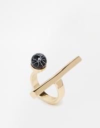 Кольцо с длинной планкой и камнем Monki - Золотой