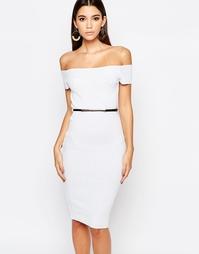 Платье миди в рубчик с широким вырезом Michelle Keegan Loves Lipsy