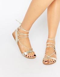 Золотые сандалии-гладиаторы со шнуровкой Faith Jermam - Золотой