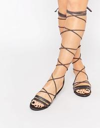 Сандалии-гладиаторы на шнуровке Daisy Street - Черный