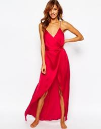 Атласное платье-сорочка макси ASOS - Crimson