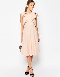 Короткое приталенное платье миди с оборкой на вороте ASOS - Розовый