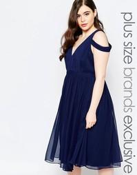 Платье миди с глубоким вырезом и открытыми плечами Forever Unique Plus