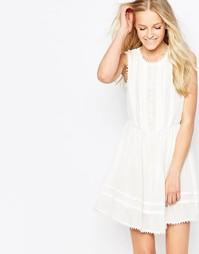 Кружевное платье с высоким воротом Brave Soul - Бежевый