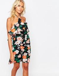 Платье с завязкой на шее и цветочным принтом Fashion Union - Мульти