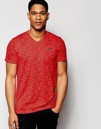 Меланжевая футболка слим с v-образным вырезом Selected Homme - Красный Hollister